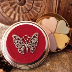 boîte fer 5 savons coeur déco papillon